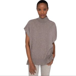 Kinross 💯% Cashmere Cowl Neck Sleeveless Pocketed Wide Arm Oversized Sweater